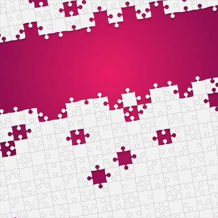 dismantle: Some White Puzzles Pieces Pink - Vector Jigsaw Illustration
