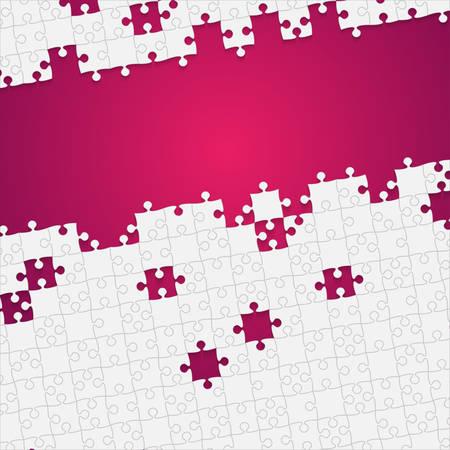 Quelques pièces de puzzle blanc rose - puzzle vectoriel