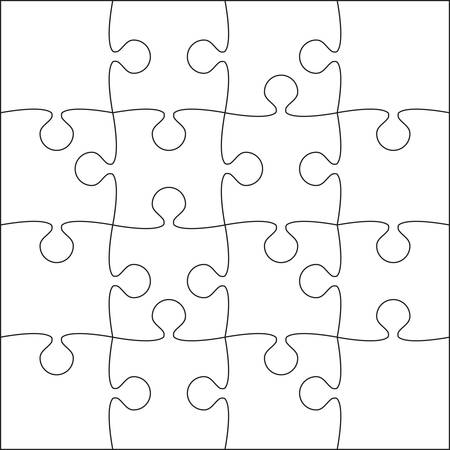 16 White Puzzle Pieces Arranged in a Square - JigSaw - Vector Illustration. Stok Fotoğraf - 87355074