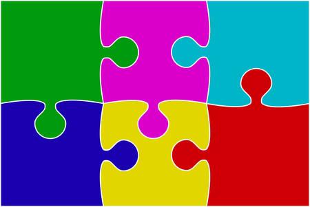 Vector Multu Color Piece Puzzle Jigsaw.