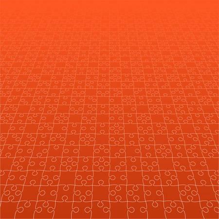 Perspective Orange Puzzles Pieces - Vector Jigsaw Illustration