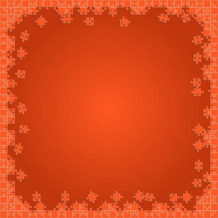 Orange Transparent Puzzles Pieces - Vector Jigsaw