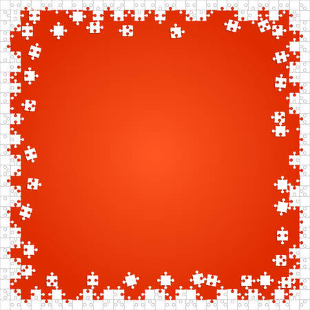 Frame White Puzzles Pieces Orange - Vector Jigsaw