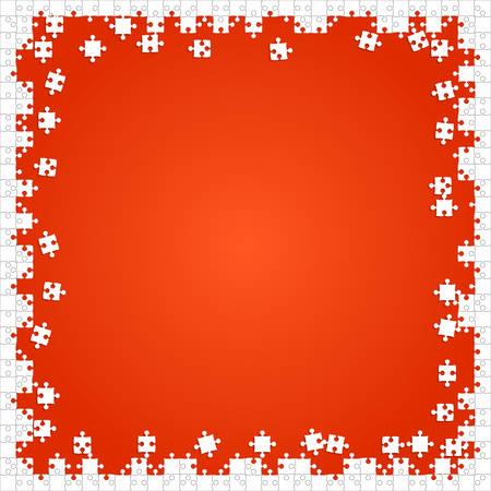 dismantle: Frame White Puzzles Pieces Orange - Vector Jigsaw