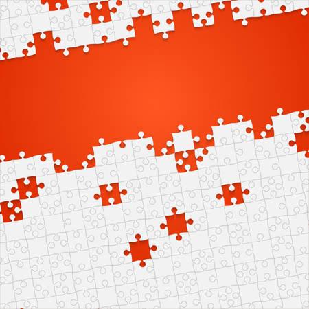 dismantle: Some White Puzzles Pieces Orange - Vector Jigsaw Illustration