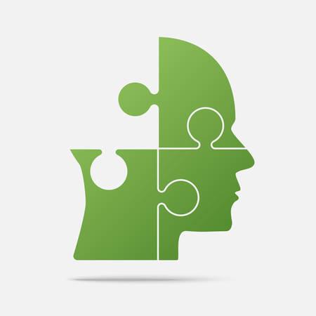 Design Green Puzzle Piece Head - Vector Jigsaw Vetores