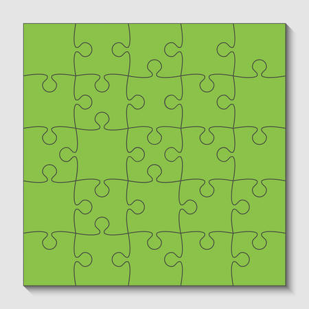 25 Green Puzzle Pieces - JigSaw - Vector