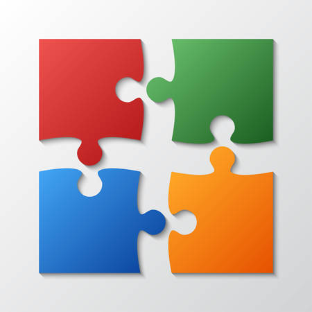 A four color piece jigsaw puzzle round infographic presentation. Иллюстрация