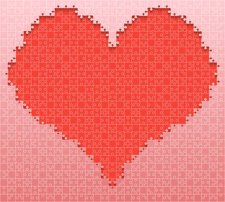 pink and black: Red piece puzzle heart icon on pink background.
