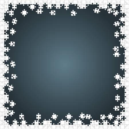 Cadre blanc Puzzles Pieces disposés dans un carré gris - Vector Illustration. Modèle vierge de puzzle jigsaw dispersé. Fond de vecteur.