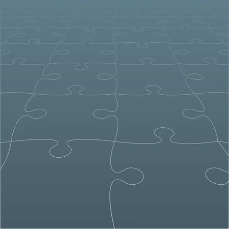 Perspective grey puzzles pieces vector illustration. Illustration