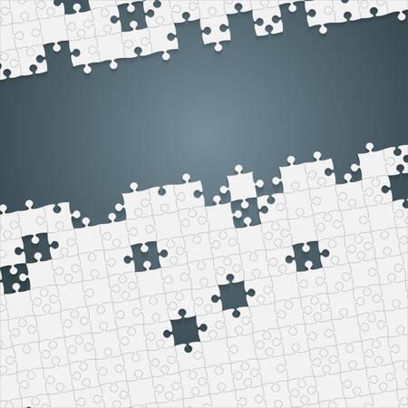 Quelques pièces de puzzles blancs en fond gris - Illustration vectorielle. Modèle vierge de puzzle jigsaw dispersé. Fond de vecteur.