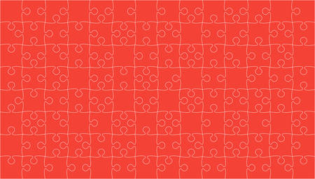paper background: Red Puzzles Pieces Jigsaw - Vector Background.