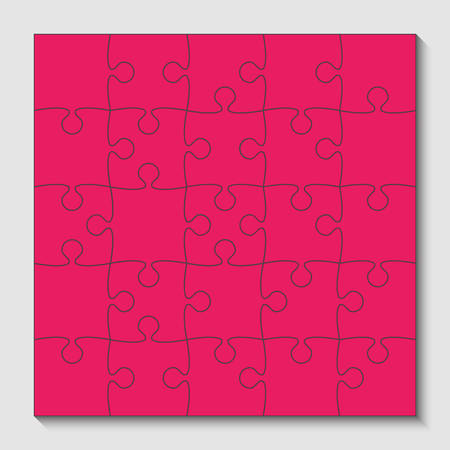 25 Pink Puzzle Pieces - JigSaw - Vector