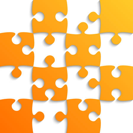 paper background: Orange Puzzle Pieces - JigSaw - Field for Chess. Illustration