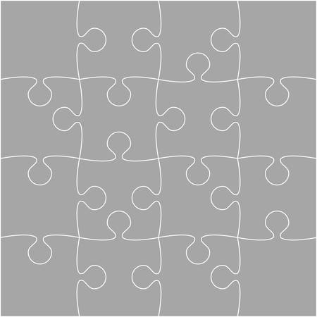 paper background: 16 Grey Puzzle Pieces - JigSaw - Vector