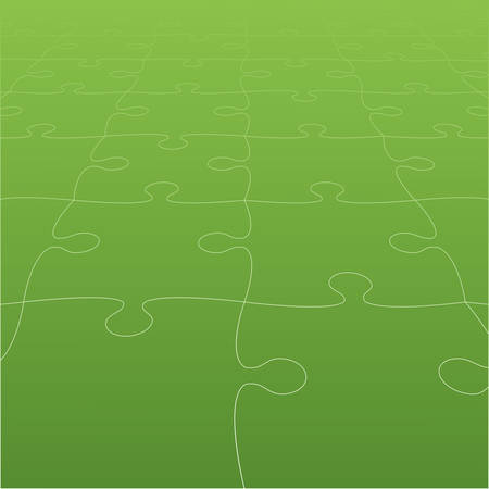 Perspective Green Puzzles Pieces - Vector Jigsaw Illustration