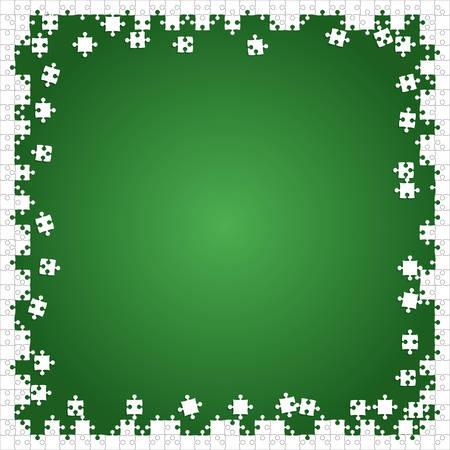 Cadre blanc des pièces de puzzle disposées dans un carré vert