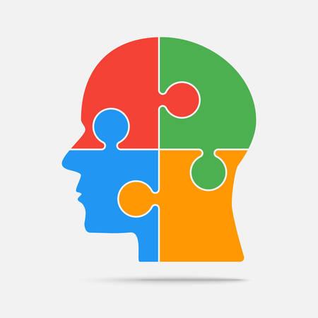 Multi Color Puzzle Piece Head - Vector Jigsaw