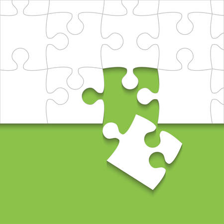 Some White Puzzles Pieces Green - Vector Jigsaw