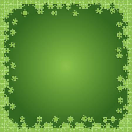 Verts Puzzles transparents - Illustration vectorielle. Modèle vierge de puzzle jigsaw dispersé.