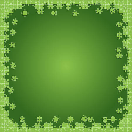 Green Transparent Puzzles Pieces - Vector Illustration. Scattered Jigsaw Puzzle Blank Template.