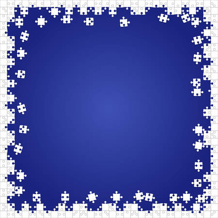 Frame White Puzzles Pieces Blue - Vector Jigsaw Illustration