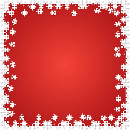 Frame White Puzzles Pieces Red - Vector Jigsaw Illustration