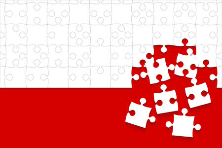 Some White Puzzles Pieces Red - Vector Jigsaw Illustration