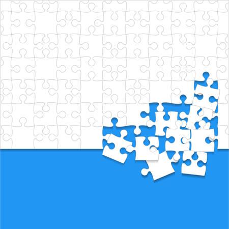 Des morceaux de puzzles dispersés blancs sur fond bleu.