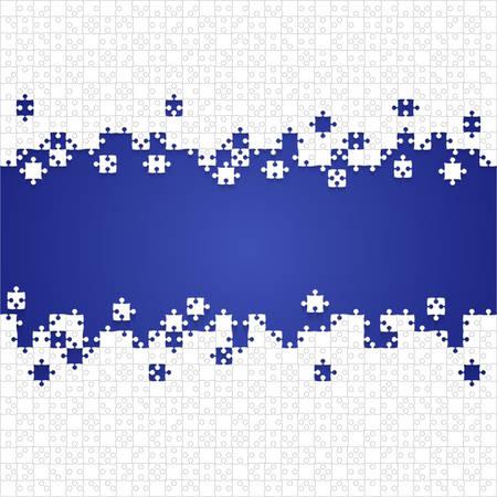 Quelques pièces de puzzles blancs en fond bleu - Illustration vectorielle. Modèle vierge de puzzle jigsaw dispersé. Fond de vecteur.