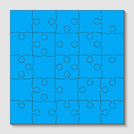 Blue Puzzle Pieces - JigSaw - Vector