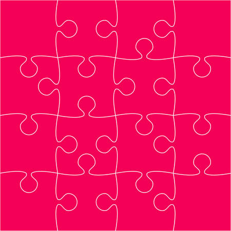 Pink Puzzle Pieces Arranged in a Square - JigSaw - Vector Illustration.