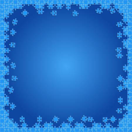 Blue Transparent Puzzles Pieces - Vector Jigsaw Illustration