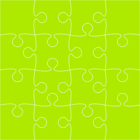 16 Green Puzzle Pieces - JigSaw - Vector