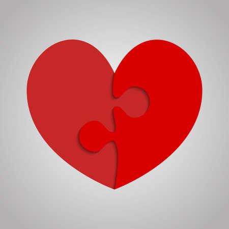 2 Red Piece Puzzle Heart Valentines Day, Love Reklamní fotografie