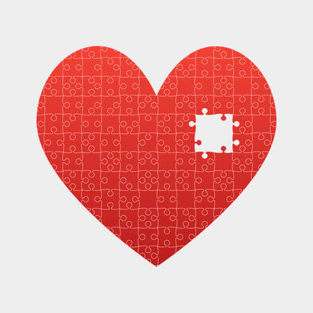 Red Piece Puzzle Heart Valentines Day, Love