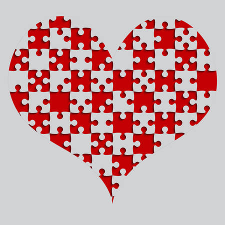 Red Puzzle Heart Pieces Vector Illustration.