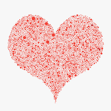Red Bubbles Circle Heart Banner. Love. Illustration