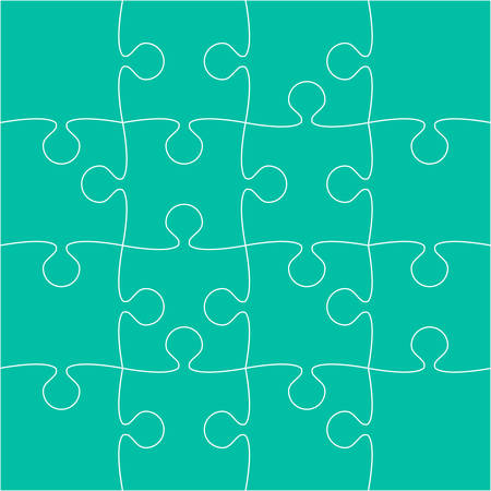 Sixteen teal puzzle pieces Illustration