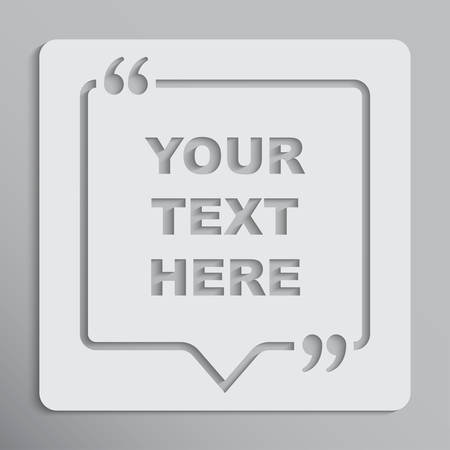 Speech bubble square, empty quote bracket. Vettoriali