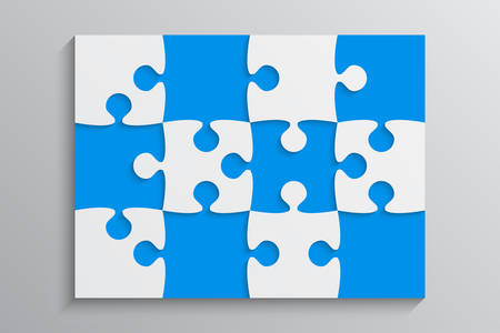 Blue Piece Puzzle Rectangle Banner. Puzzle Business Presentation. Rectangle Puzzle Infographic. 12 Step Process Diagram. Section Compare Banner. Jigsaw Infographics. Information Puzzle Design.  イラスト・ベクター素材