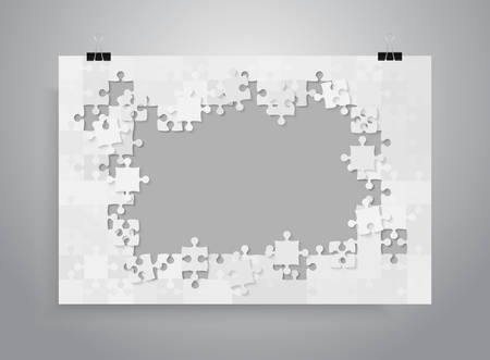 Vertical Poster Banner A4. Grey Background Puzzle. Jigsaw Puzzle Banner. Illustration