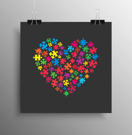 Square Poster Banner. Many Colorful Piece Puzzle Heart. Jigsaw Puzzle Logotype. Valentine Day Love Trio. Autism Awareness. Medical Symbol. Puzzle Pieces Poster. Banner Square. Pieces Heart.