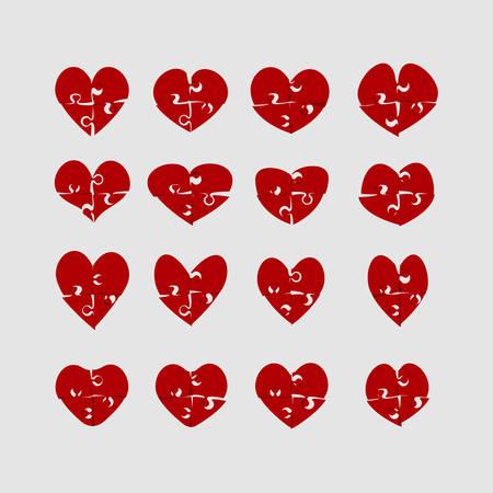 Hearts Puzzle. Jigsaw Love Logotype. Illustration