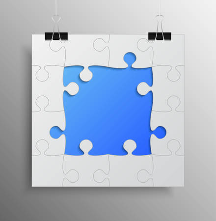 Banner Blue Frame Background Puzzle jigsaw.