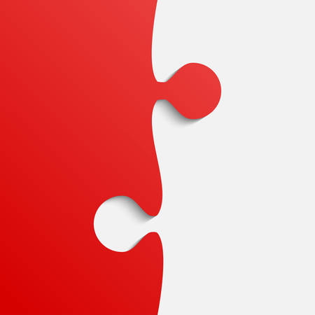 Grey and Red Piece Puzzle Infographic Presentation. Jigsaw Background.