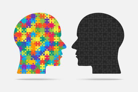 Puzzleteilköpfe Puzzle. Puzzle-Objekt. Kopf. Vektorgrafik