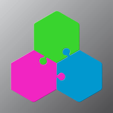 Diagramma di esagono di puzzle a tre pezzi. Puzzle 3 Step.