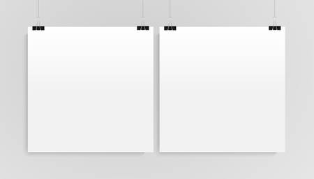 Two Vertical Poster Mockup Square. Mock-up.